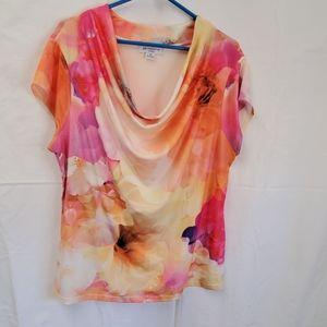 Liz Claiborne Floral Print Short Sleeve Top, 2X